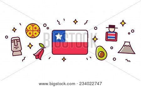Chile Banner Design Elements. Chilean Flag Surrounded With Traditional Signs And Symbols. Vector Cli