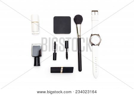 Cosmetics And Accessories Black And White On A White Background. Isometric