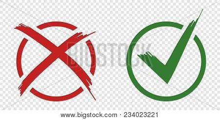 Acceptance And Rejection Symbol Vector Buttons For Vote, Election Choice. Circle Brush Stroke Border