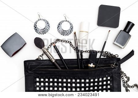 Women's Accessories And Purse In Black And White On A White Background. Flat Lay