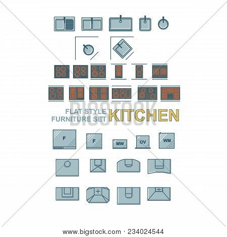 Sinks, Cookings, Fridges And Other Kitchen Appliance Flat Syle Set