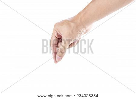Hand Pick Up Something, Isolated On White Background With Clipping Path
