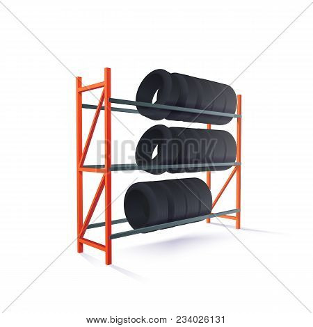 Vector Realistic Illustration Of Tire Rack Storage
