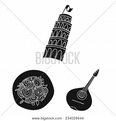 Country Italy Black Icons In Set Collection For Design. Italy And Landmark Vector Symbol Stock  Illu