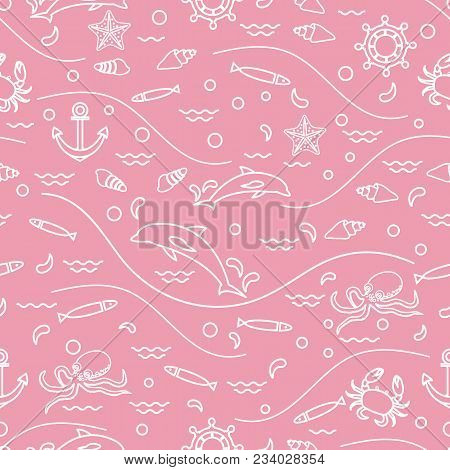 Cute Seamless Pattern With Dolphins, Octopus, Fish, Anchor, Helm, Waves, Seashells, Starfish, Crab.
