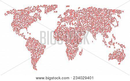 Global Geography Pattern Map Created Of Exclamation Sign Elements. Vector Exclamation Sign Scattered