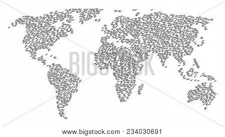 Worldwide Composition Map Organized Of Firewood Design Elements. Vector Firewood Scattered Flat Pict