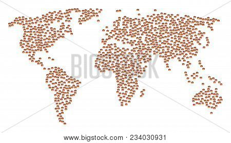 Global World Pattern Map Combined Of First Aid Toolbox Icons. Vector First Aid Toolbox Scatter Flat