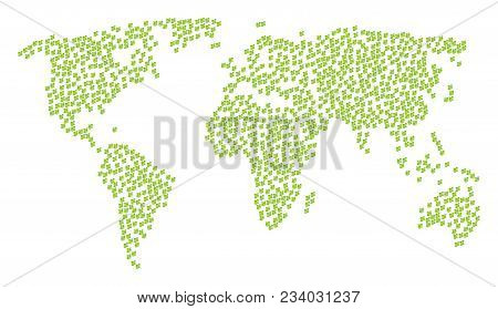 Global Geography Pattern Map Combined Of Flora Plant Elements. Vector Flora Plant Scatter Flat Icons