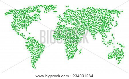 Earth Concept Map Combined Of Floral Sprout Items. Vector Floral Sprout Scatter Flat Design Elements