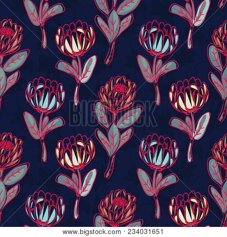 Protea Hand Drawn Seamless Vector Pattern. Floral Repeat Background.