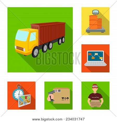 Logistics And Delivery Flat Icons In Set Collection For Design. Transport And Equipment Isometric Ve