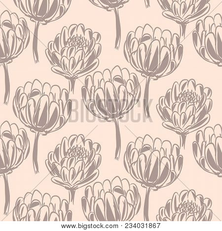 Protea Flower Simple Seamless Vector Pattern. Pastel Color Floral Background.