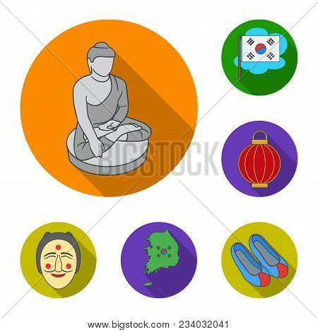 Country South Korea Flat Icons In Set Collection For Design.travel And Attraction Vector Symbol Stoc