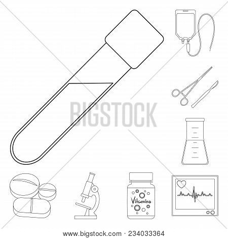 Medicine And Treatment Outline Icons In Set Collection For Design. Medicine And Equipment Vector Sym