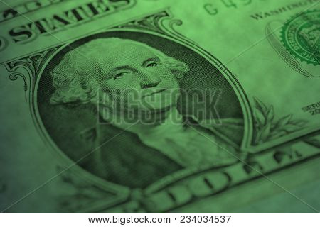 President Of America George Washington On One Dollar Bill Close Up
