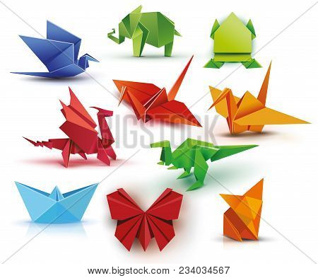 Origami. A Set Of Origami. Set Origami Butterfly, Crane, Frog, Elephant, Dragon, Ship, Dinosaur, Fox