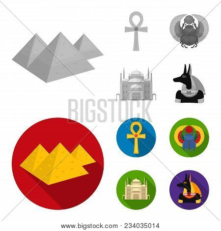 Anubis, Ankh, Cairo Citadel, Egyptian Beetle.ancient Egypt Set Collection Icons In Monochrome, Flat