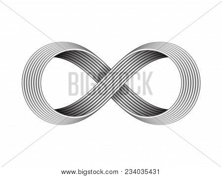 Infinity Sign Made Of Metal Cables. Endless Strip Symbol. Vector Illustration Isolated On White Back