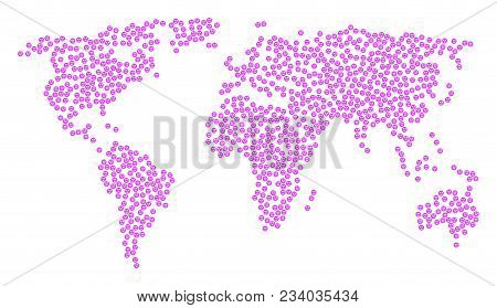 Global World Collage Map Composed Of Lady Love Smiley Pictograms. Vector Lady Love Smiley Scattered