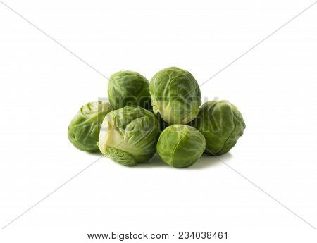 Brussels Sprouts Cabbage Isolated On A White. Brussels Sprouts Cabbage On A White Background. Cabbag