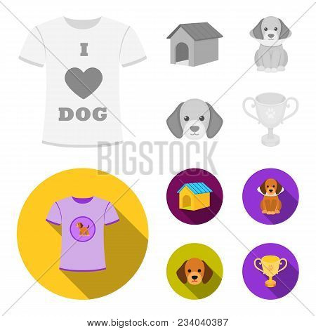 Dog House, Protective Collar, Dog Muzzle, Cup. Dog Set Collection Icons In Monochrome, Flat Style Ve