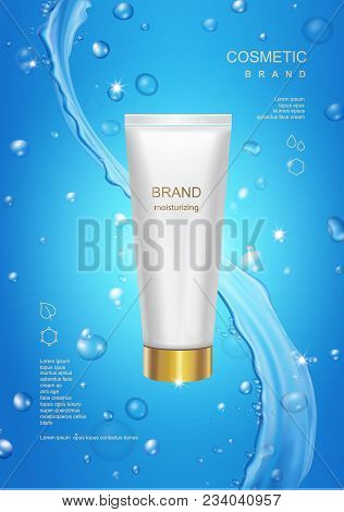 Blank Cosmetic Tube Package Design On Blue Water Background With Splash Moisturizing Cream Advertisi