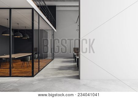 Modern Boardroom Interior With Copy Space On Concrete Wall, Wooden Floor And Equipment. Mock Up, 3d