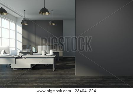Clean Office Interior With City View, Sunlight, Furniture And Copy Space On Concrete Wall. 3d Render