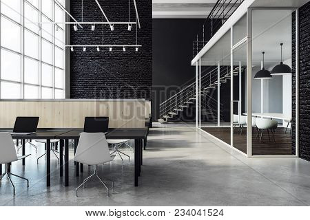 Clean Coworking Office Interior With City View And Daylight. 3d Rendering