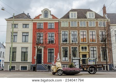 The Hague, The Netherlands - March 31, 2018: Historic Houses On Prinsegracht In The Hague