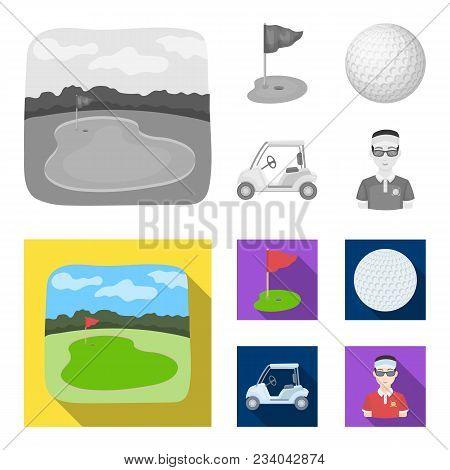 Field With A Hole And A Flag, A Golf Ball, A Golfer, An Electric Golf Cart.golf Club Set Collection