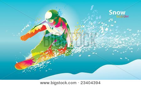 The Colorful Figure Of A Young Man Snowboarding On A Blue Sky Background