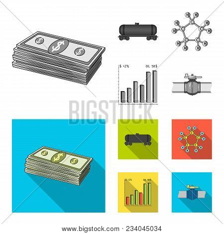 Railway Tank, Chemical Formula, Oil Price Chart, Pipeline Valve. Oil Set Collection Icons In Monochr
