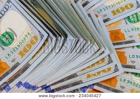 Dollars Closeup Concept. American Dollars Cash Money. One Hundred Dollar Banknotes. Many Bundle Of U