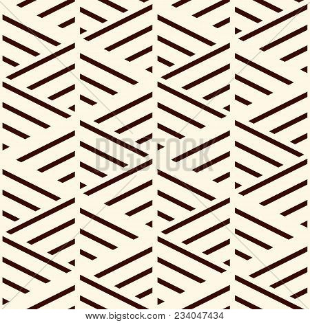 Brown Diagonal Lines On White Background. Seamless Surface Pattern Design With Linear Ornament. Slan