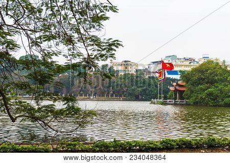 Jade Mountain Temple On Hoan Kiem Lake . The Historic Center Of Hanoi, Vietnam