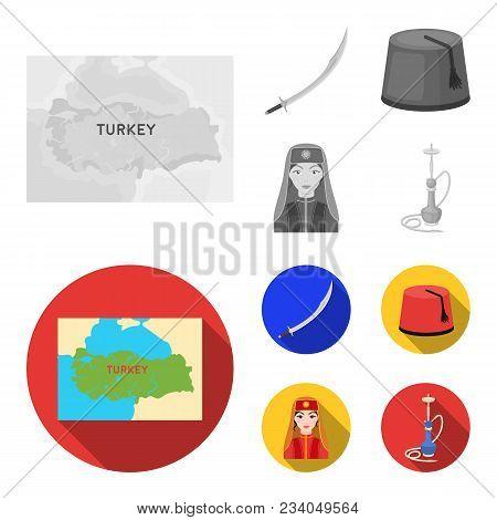 Turkish Fez, Yatogan, Turkish, Hookah.turkey Set Collection Icons In Monochrome, Flat Style Vector S