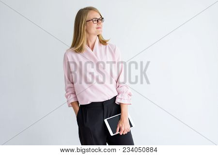 Pensive Enterprising Businesswoman Thinking Of New Project. Smiling Introspective Confident Female B