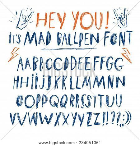 Hand Drawn Messy Ballpen Vector Abc  Letters Set. Doodle Comic Font For Your Design.