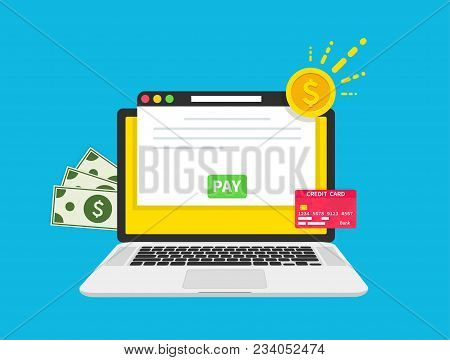 Payment Concept. Computer Paymant. Dollars, Coin, Card. Pay Bill, Financial Accounting, Electronic P