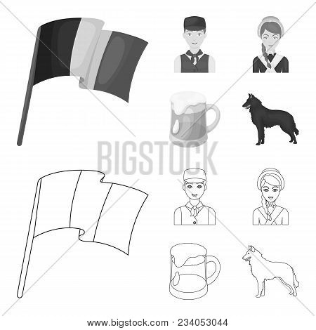 National Flag, Belgians And Other Symbols Of The Country.belgium Set Collection Icons In Outline, Mo