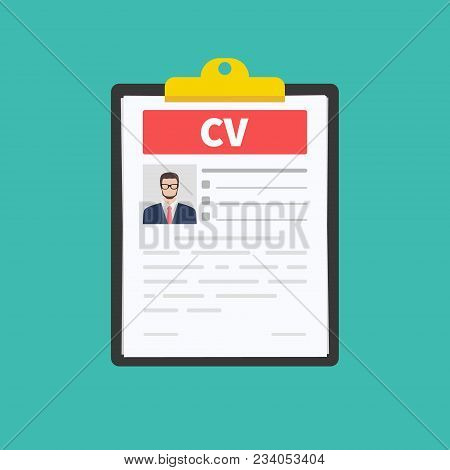 Cv Resume. Job Interview Concept. Employment, Hiring Concepts. Modern Flat Design For Web Banners, W