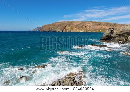 View Of Cliffs And Waves In Windy Day. Papafragas Beach, One Of The Most Impressive Sites Of Milos.