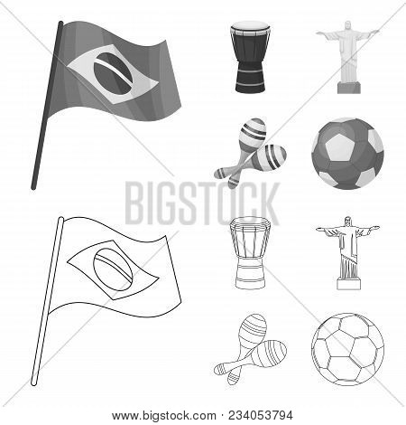 Brazil, Country, Flag, Drum . Brazil Country Set Collection Icons In Outline, Monochrome Style Vecto