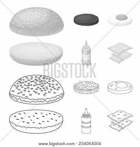 Burger And Ingredients Outline, Monochrome Icons In Set Collection For Design. Burger Cooking Vector