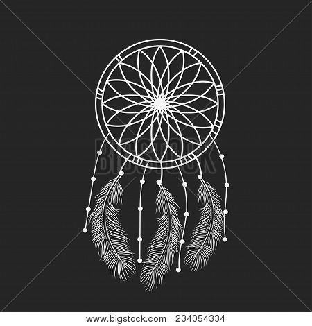 Dream Catcher Graphic In Black And White Decorated With Feathers And Beads Giving Its Owner Good Dre
