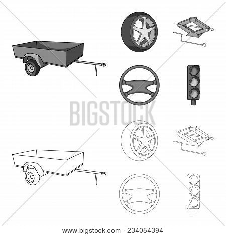 Caravan, Wheel With Tire Cover, Mechanical Jack, Steering Wheel, Car Set Collection Icons In Outline