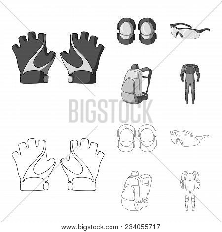 Gloves, Elbow Pads, Goggles, Cyclist Backpack.cyclist Outfit Set Collection Icons In Outline, Monoch
