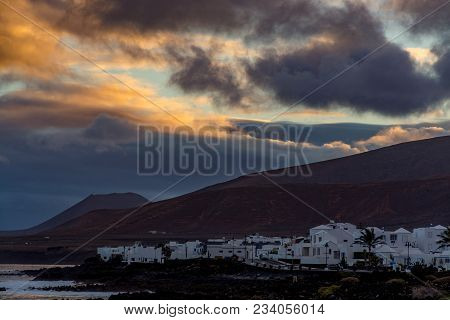 White Houses Of Arrieta, Small Village North Lanzarote Island, Landscape Photo, Sunset On Canary Isl